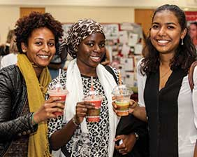 UWE students drinking fruit smoothies