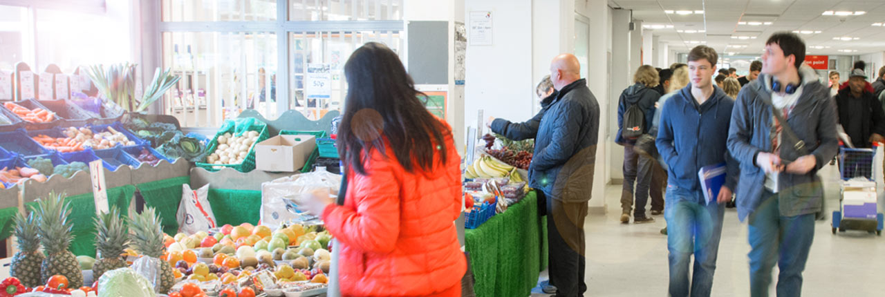 The fresh fruit and veg stall at Frenchay Campus