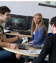 Students working in the Games Studio