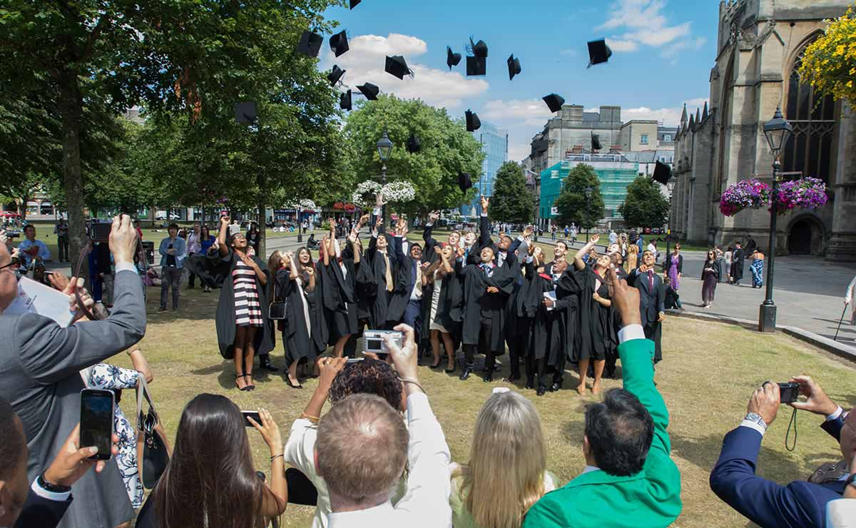 Students graduating on College Green, Bristol