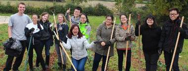 UWE students in a field whilst taking part in Big Green Week