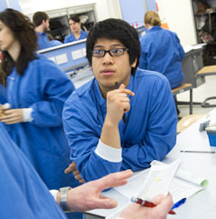 Students in one of the science labs at UWE Bristol