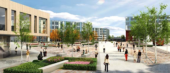 "Artist's impression of the new ""Heartzone"" of Frenchay Campus"