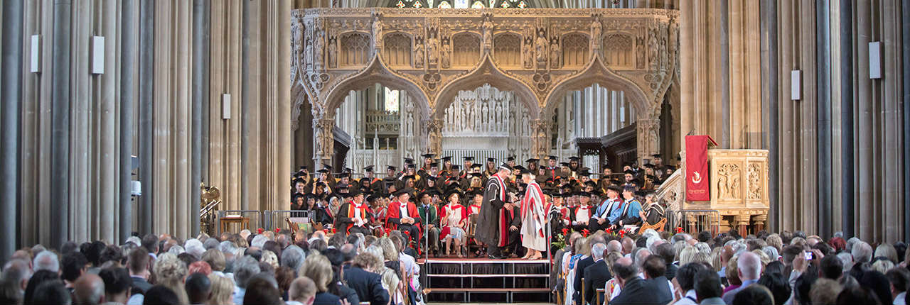 A graduation ceremony taking place in Bristol Cathedral