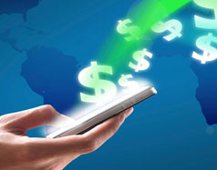 Transferring money via mobile banking on a smartphone