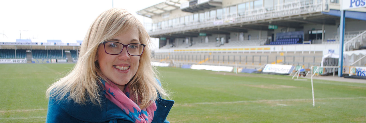 Kirsty at Bristol Rovers Football ground