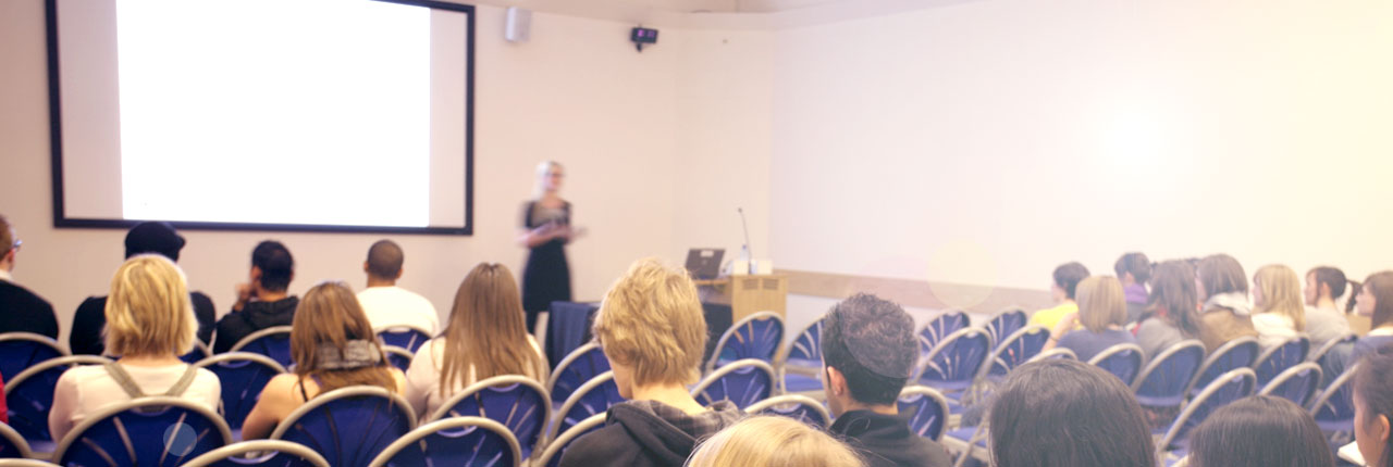 Presentation taking place in the seminar room, UWE Bristol Exhibition and Conference Centre