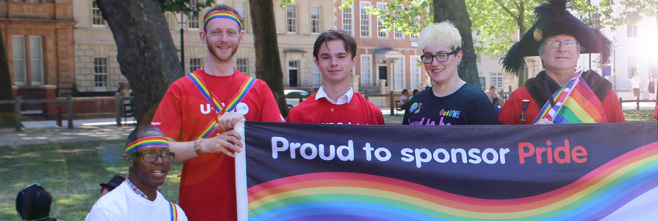 UWE Bristol students and staff and the Lord Mayor at Bristol Pride
