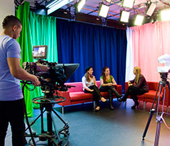 Students using TV studio facilities