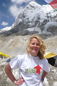 Mollie with Everest towering above
