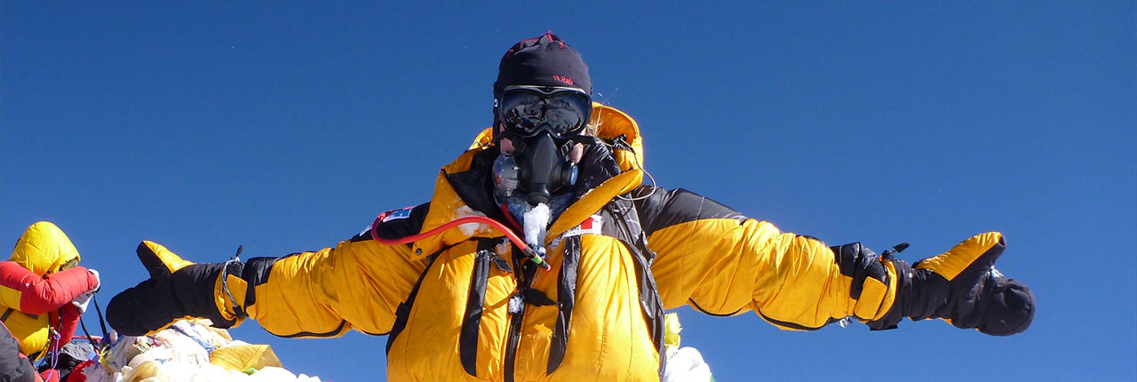 Mollie on the summit of Mount Everest