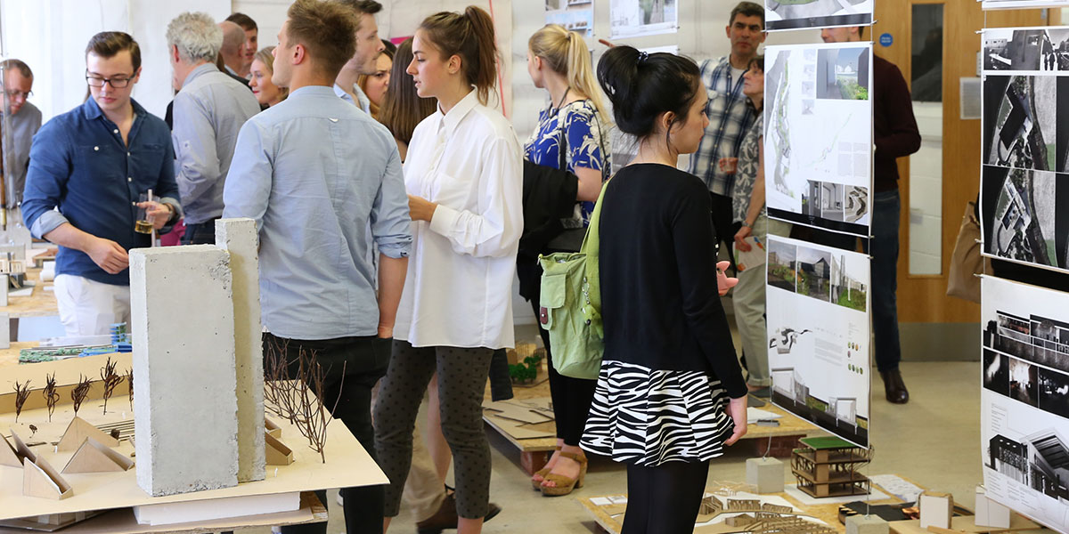 Visitors and students at a Environment and Technology show