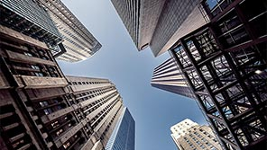View of skyscrapers from below