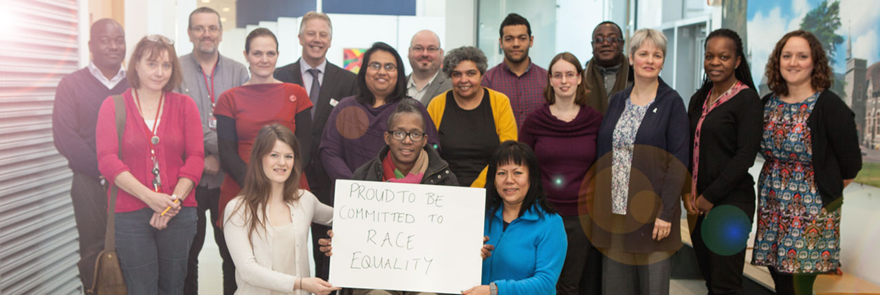 Our Race Equality Self Assessment Team show their committment to the Race Equality Charter