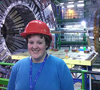 Rhian at CERN in front of Large Hadron Collider