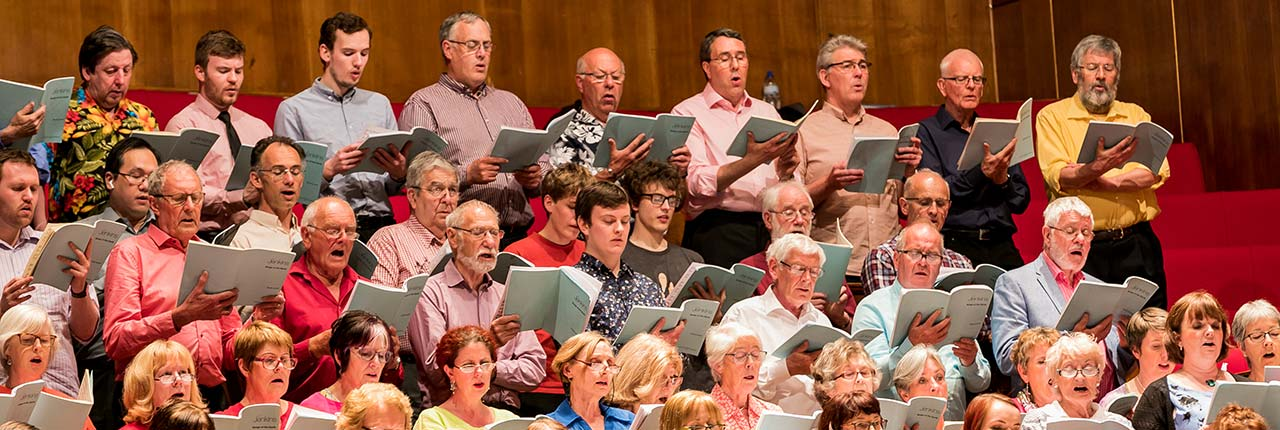 Singers University Chorus performing at the Colston Hall