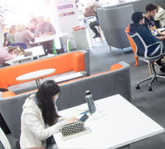One of many social spaces at UWE Bristol