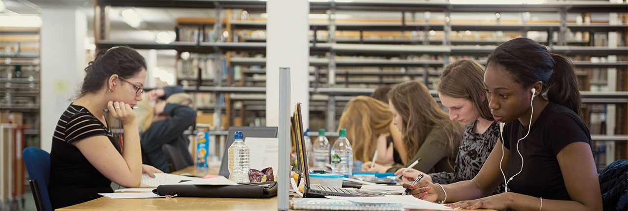 Students working in a UWE Bristol library