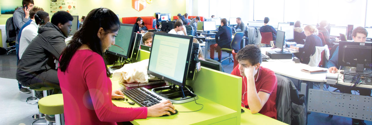"Students working in the ""Hive"" social learning space"