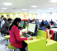 Students studying in the HIVE study area on Frenchay Campus