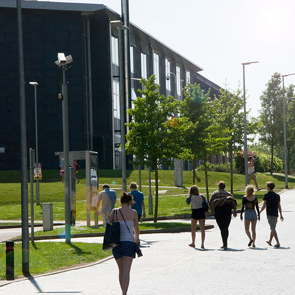 Visitors walking around the UWE Bristol campus