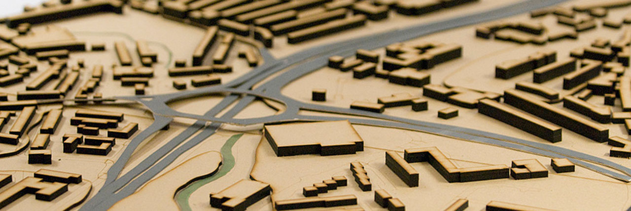 Town planning three dimensional model