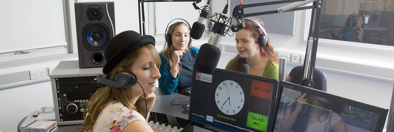 Students recording in the TV studio