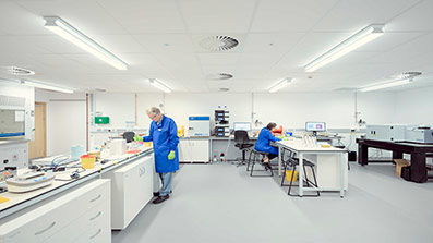 Researcher using the laboratory facilities in University Enterprise Zone, UWE Bristol