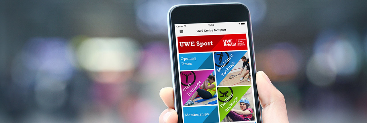 Someone using the UWE Sport app on a mobile phone