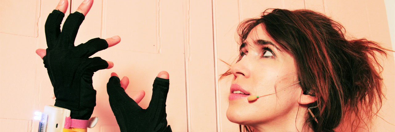 Music Artist Imogen Heap with the data gloves