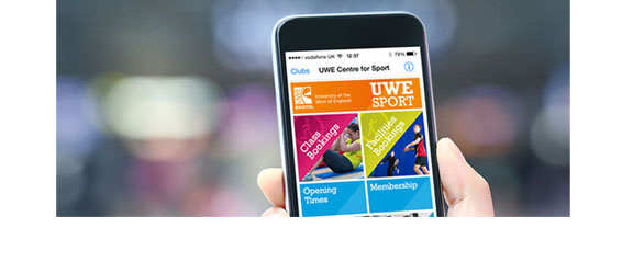 The UWE Sport App in use on a mobile phone