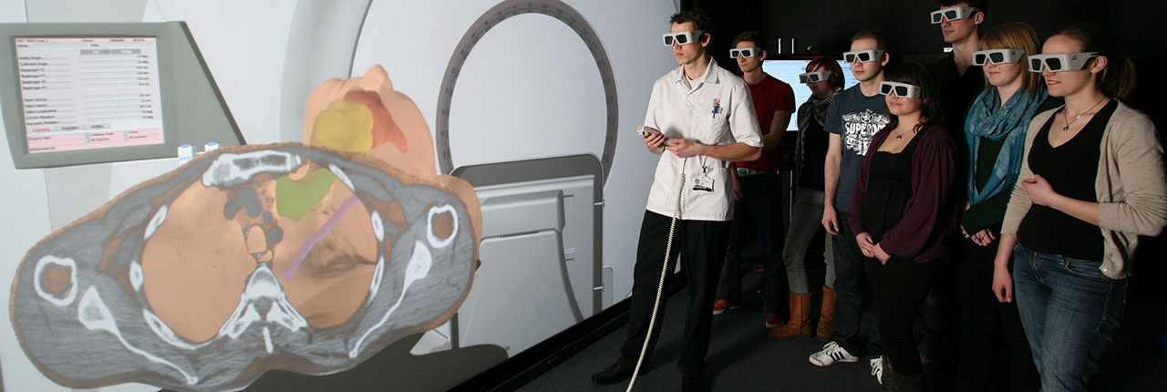 Students using 3D radiotherapy simulation