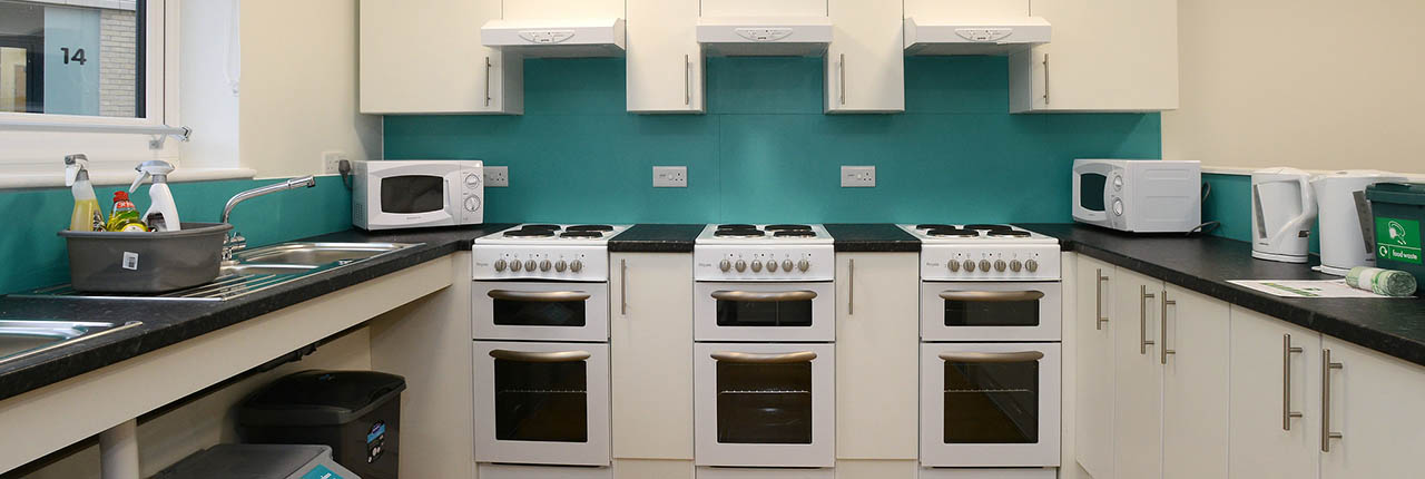 The interior of a kitchen within student accommodation