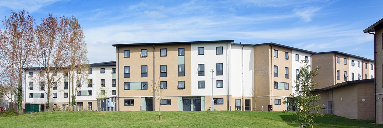 The exterior of UWE Bristol's Wallscourt House student accommodation